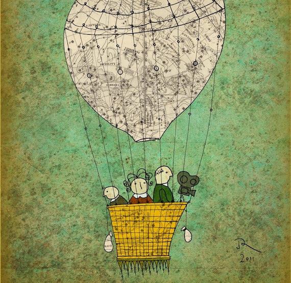 map hot air balloon Giclee Art Print Limited edition 12''x16'' (A3)by Juri Romanov-OrangeOptimist
