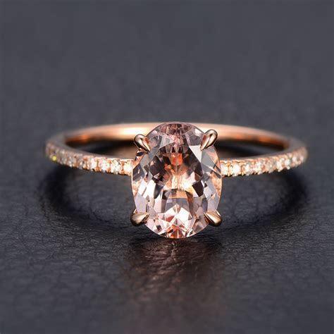 Morganite Diamond Engagement Ring 14K Rose Gold,Oval Cut