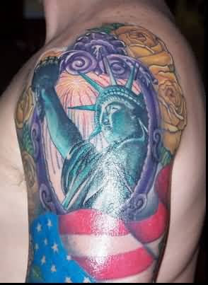 Half Sleeve Popular Statue Of Liberty Tattoo Design For Men