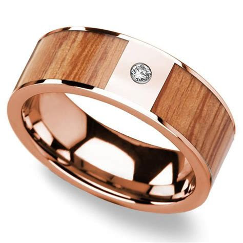 Red Oak Wood Inlay Men?s Wedding Band in Rose Gold with
