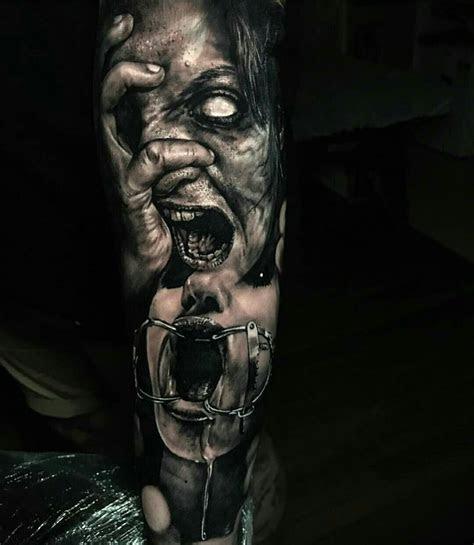 preto cinza creepy tattoos scary tattoos skull tattoos