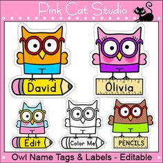 Owl Theme Labels EDITABLE   Owl labels, Owl and Cubbies