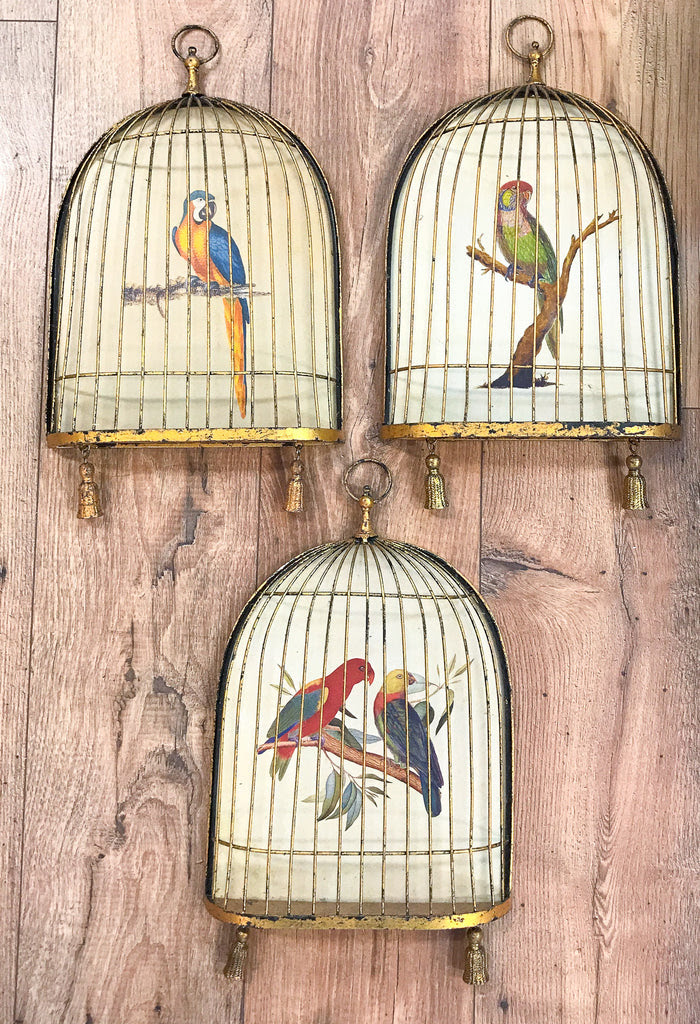 Vintage Birds In Brass Bird Cages Wall Decor Reposed Ny Vintage And Antique Home Decor
