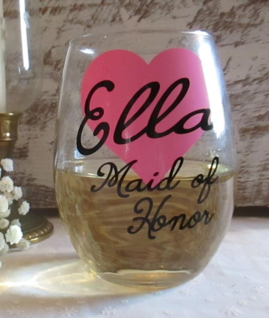 Personlized Wedding Wine Glass Custom Bride Bridesmaid Maid Of