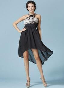 Black Strapless Floral High Low Chiffon Dress