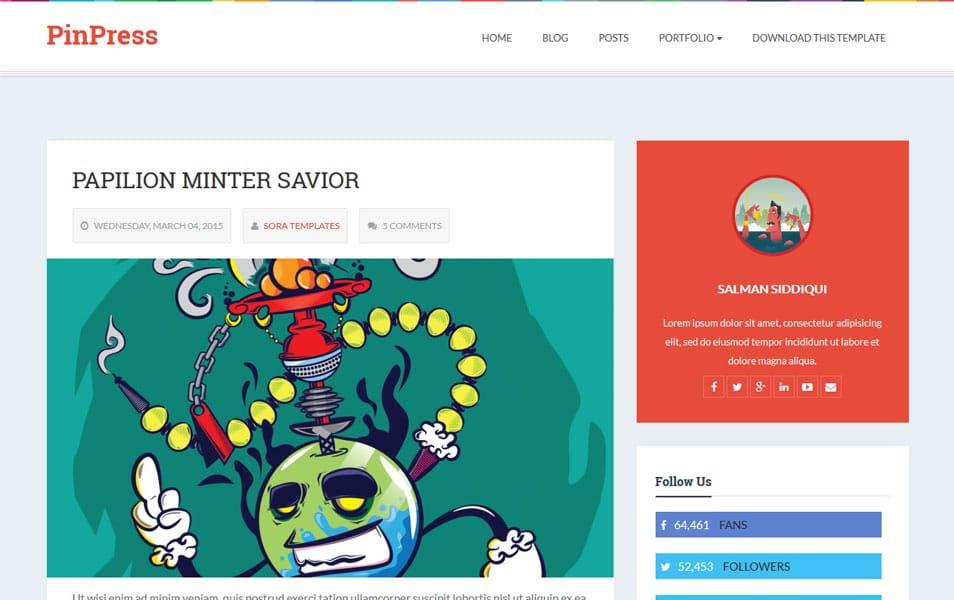 PinPress Responsive Blogger Template