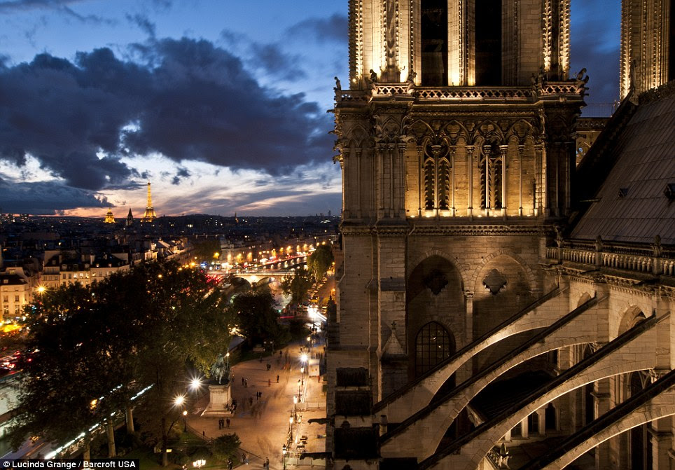 A picture of Notre Dame cathedral at night