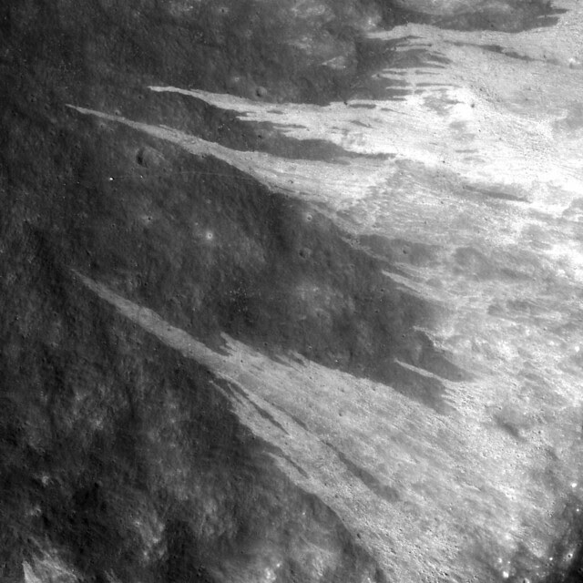 Granular fine falls on the wall of Clerke crater