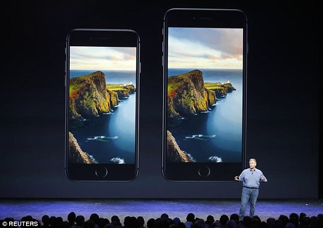 Inside the devices (iPhone 6 pictured left and iPhone 6 Plus pictured right) is the new Apple A8 64-bit chip. It has 2 billion transistors and is 13 per cent smaller than the A7.This makes the processing unit 20 per cent faster, and graphics 50 per cent faster