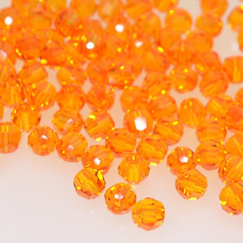 27750001247259 Swarovski Bead - 4 mm Faceted Round (5000) - Tangerine (Pkg 18)