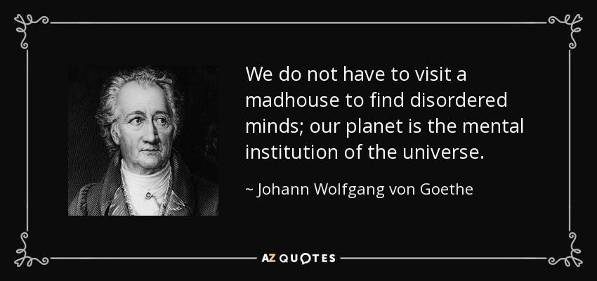 We do not have to visit a madhouse to find disordered minds; our planet is the mental institution of the universe. - Johann Wolfgang von Goethe