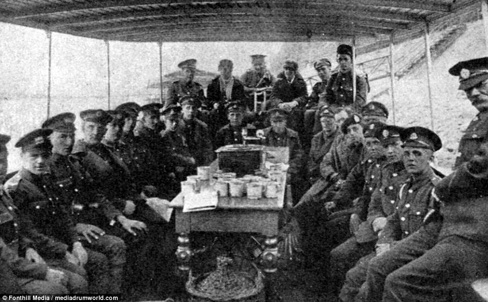 Boat trips on the Rhine were a popular leisure activity organised by the British Empire Leave Club. A group of soldiers are pictured packed onto a boat surrounding a table covered in what appears to be refreshments