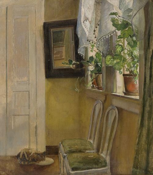 poboh:  Interior with cat, Eilif Peterssen. Norwegian (1825 - 1953)