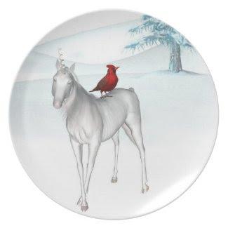 Unicorn and cardinal Holiday Plate