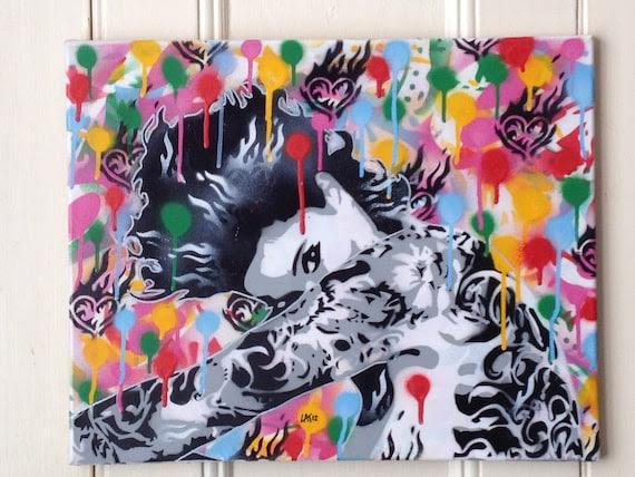 tattooed hearts 3,stencil art,urban art,abstract art,rainbow, on canvas
