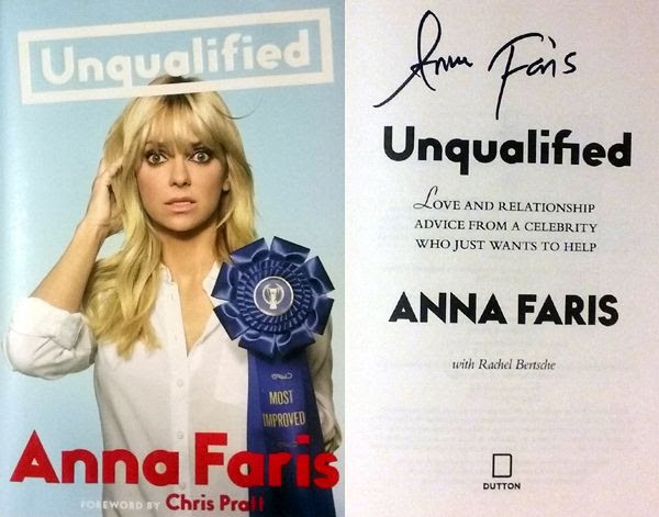 My autographed copy of Anna Faris' book UNQUALIFIED.