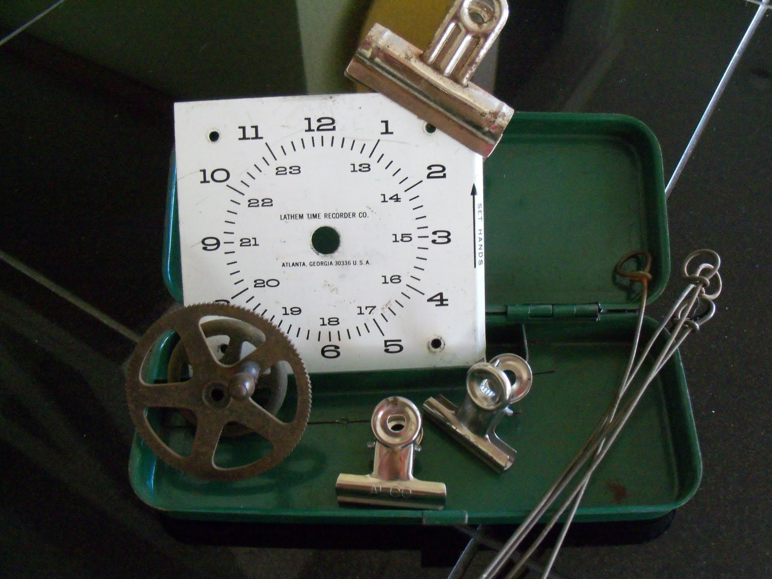 Vintage Industrial Office Collection - Binder Clips Gear Timeclock Face Tool Box
