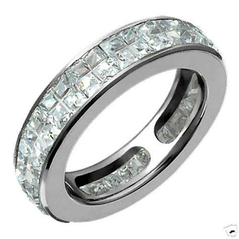 Mens Eternity Titanium Cubic Zirconia Promise Ring 5mm