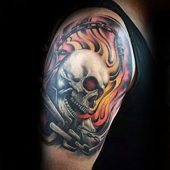 50 Flaming Skull Tattoos For Men Blazing Bone Design Ideas