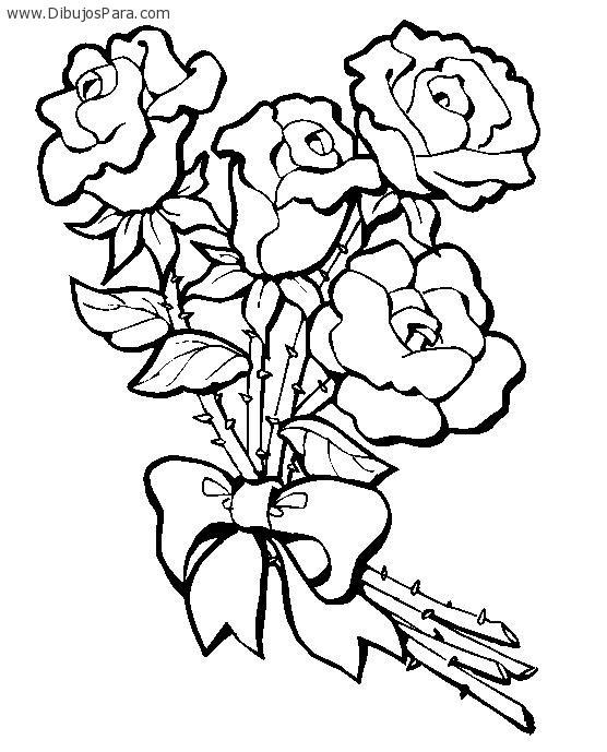Dibujo De Ramo De Rosas Para Colorear Dibujos Para Colorear