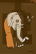 Artist  Singh - Elephant With A Bird