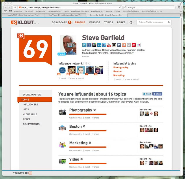 Steve Garfield | Klout Influence Report