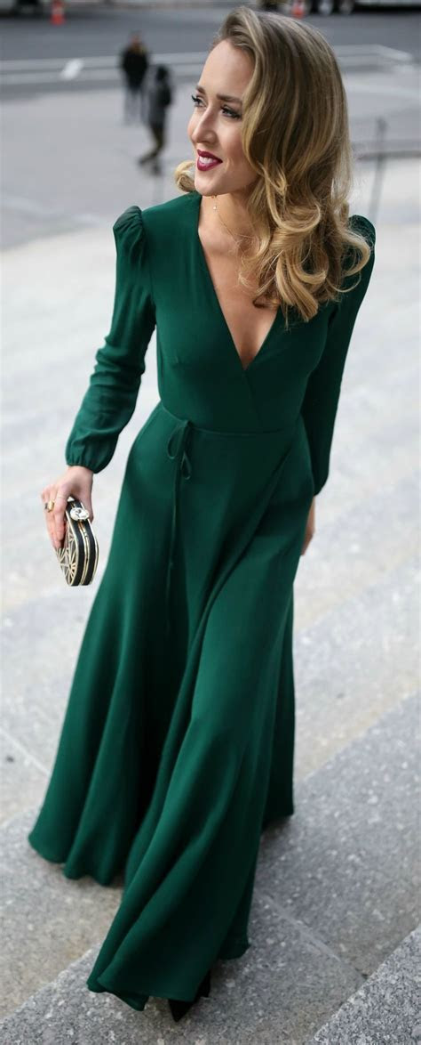 Emerald green long sleeve floor length wrap dress, black
