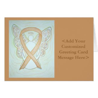 Gold Awareness Ribbon Angel Personalized Cards