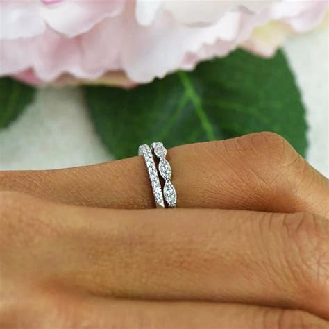 Art Deco Wedding Band And Half Eternity Band, Thin