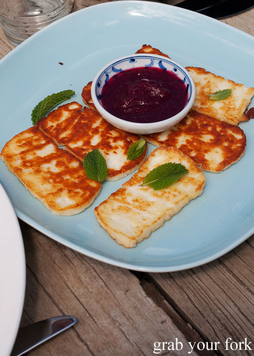 Grilled Island Pure haloumi with beetroot chutney