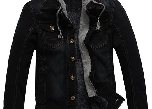 Denim Black Jacket With Hoodie