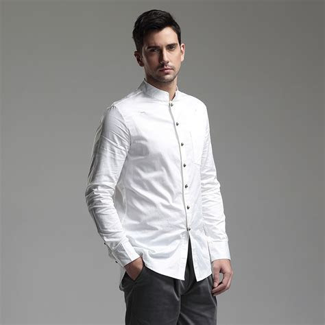 Modern Mandarin Collar Snap Button Shirt   White   Chinese