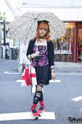 Makiron's Colorful Hair, G2? Dress, H&M Corset Top & Handmade Bag in Harajuku