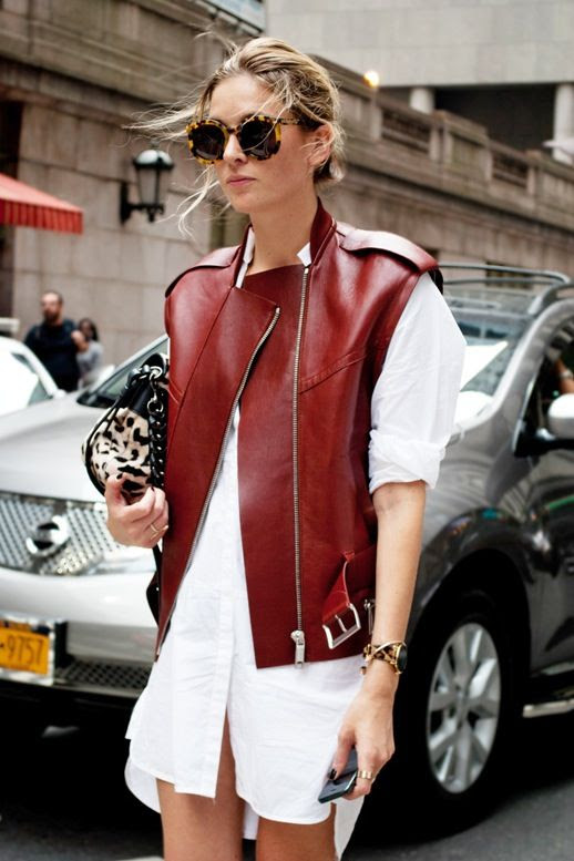 Le Fashion Blog Bloggers Street Style Tortoise Oversize Round Sunglasses Burgundy Leather Vest Leopard Bag White Shirtdress Via Dapprly