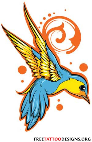 Blue And Yellow Swallow Tattoo Design Tattoomagz