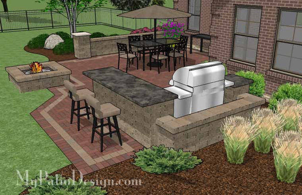 Large Brick Patio Design with Grill Station-Bar ...