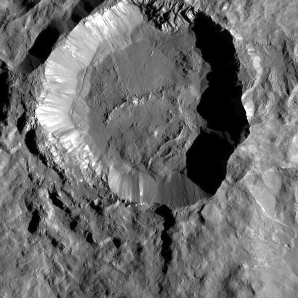 An image by NASA's Dawn spacecraft showing Kupalo Crater, one of the youngest craters on dwarf planet Ceres.