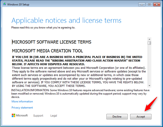 Términos de licencia para Windows 10