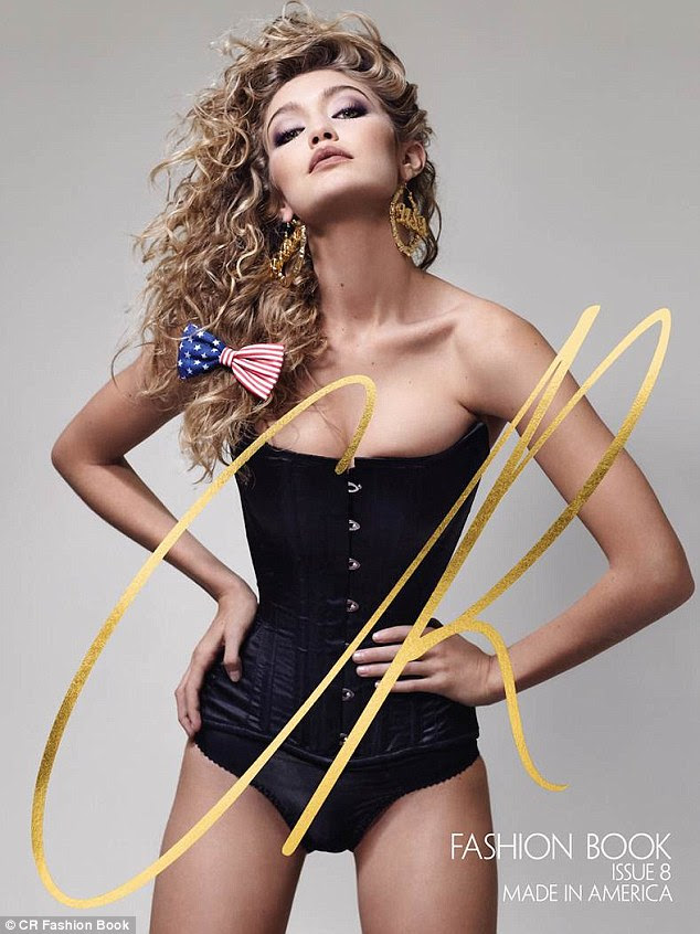 Cover star: Gigi Hadid, 20, appears on one of four covers of the latest issue of CR Fashion Book, marking her second time starring on the front of the magazine wearing a corset and a Stars and Stripes bow from Claire's