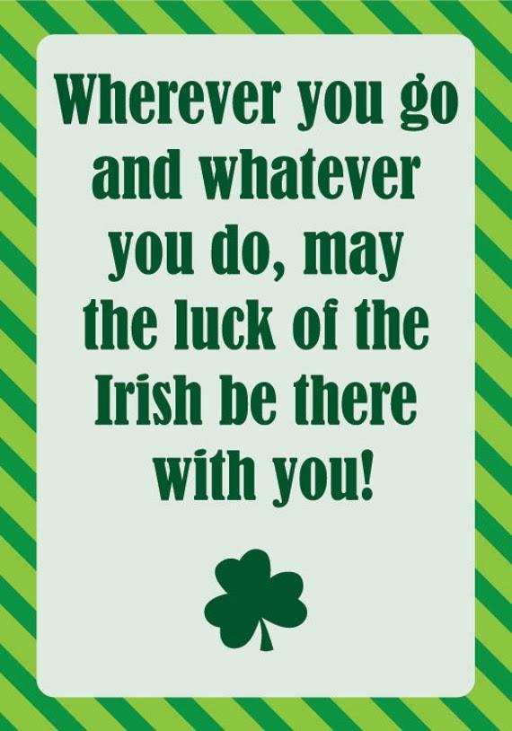 Happy St. Patricks Day Card (Irish Quote) - DIY 5 x 3.5 Printable