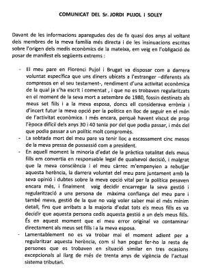 Comunicado de Jordi Pujol sobre su fortuna oculta en Andorra.