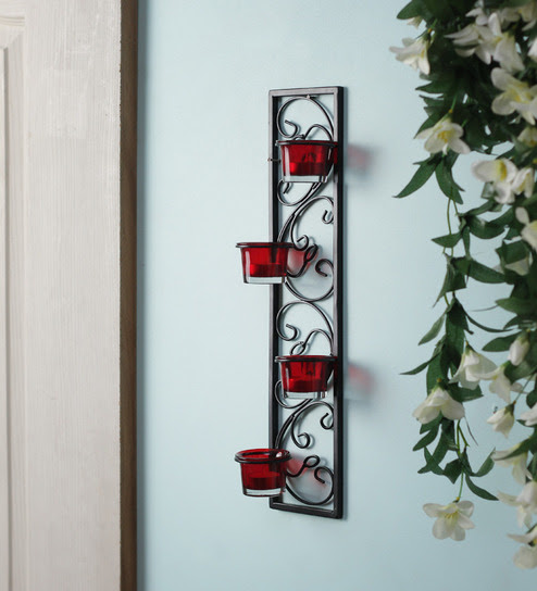 hosley set of 2 decorative wall sconce candle holder with red glass and free t light candles hosley ecqyx1 15 Chic Wrought Iron Wall Candle Holders You Will Admire