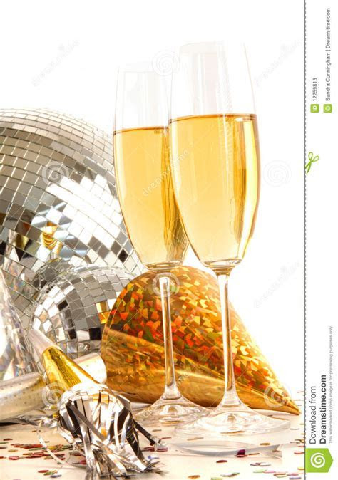 Champagne Glass With Gold Party Hats Stock Image   Image