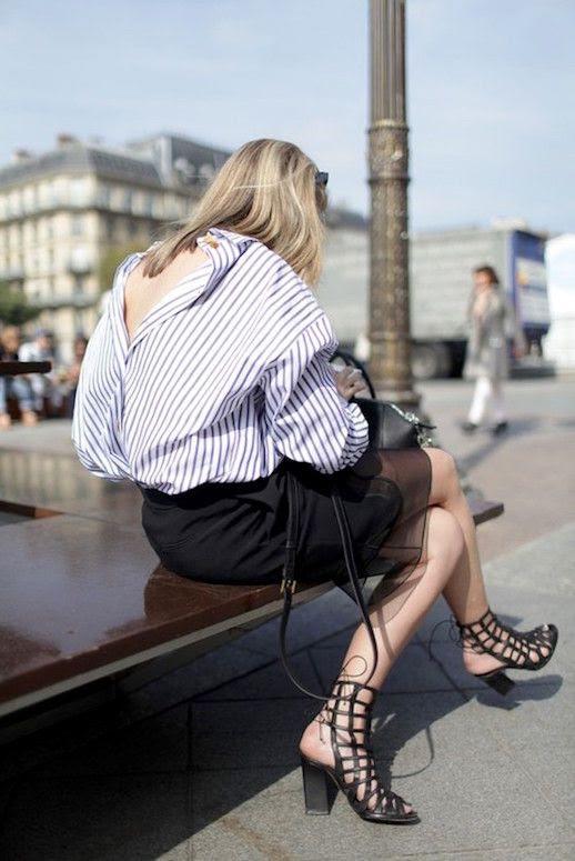 Le Fashion Blog 25 Ways To Wear A Striped Button Down Shirt Open Back Paris Fashion Week Via Wwd Black Skirt Cut Out Sandals Street Style