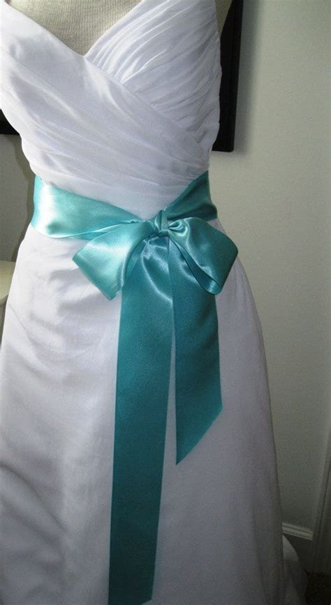 Tiffany Blue Wedding Belt, Bridal Sash    A Short Satin