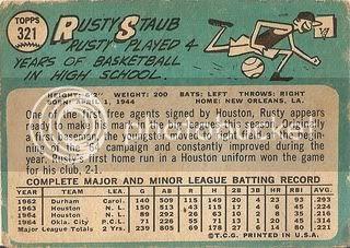 #321 Rusty Staub (back)