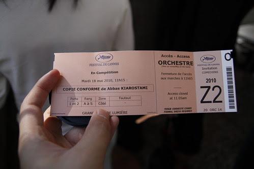 Ticket for Abbas Kiarostami's CERTIFIED COPY