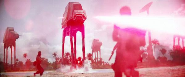 Imperial AT-AT walkers open fire on Jyn Erso and her Rebel team in ROGUE ONE: A STAR WARS STORY.