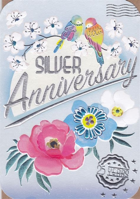 Birds & Flowers Silver Anniversary Card   Karenza Paperie