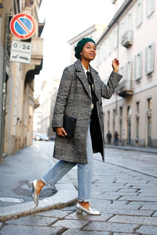 Le Fashion Blog Green Beret Classic Long Coat Blouse With Ribbon Mih Vintage Style Jeans Silver Heeled Loafers Via All The Pretty Birds